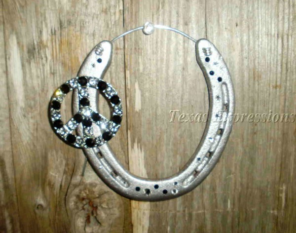 Crystal Peace Sign Horseshoe