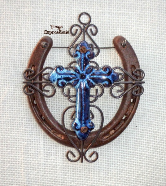 Blue Ceramic Cross Horseshoe - Rustic