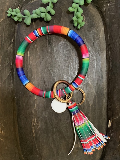 Bangle Bracelet Keychain Ring - Serape