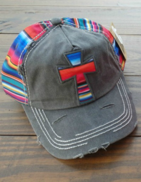Serape Cross  Black Cap