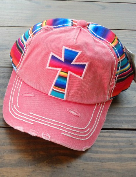 Serape Cross on Pink Cap